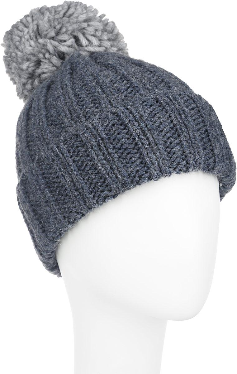 Шапка женская Venera, цвет: серо-синий. 9806137-25. Размер универсальный9806137-25Вязаная женская шапка Venera отлично дополнит ваш образ в холодную погоду. Шапка выполнена крупной вязкой из мягкой пряжи, которая максимально сохраняет тепло и обеспечивает удобную посадку и не доставит дискомфорта при носке. Теплая шапка спомпоном и отворотом станет отличным дополнением к вашему осеннему или зимнему гардеробу, в ней вам будет уютно и тепло!