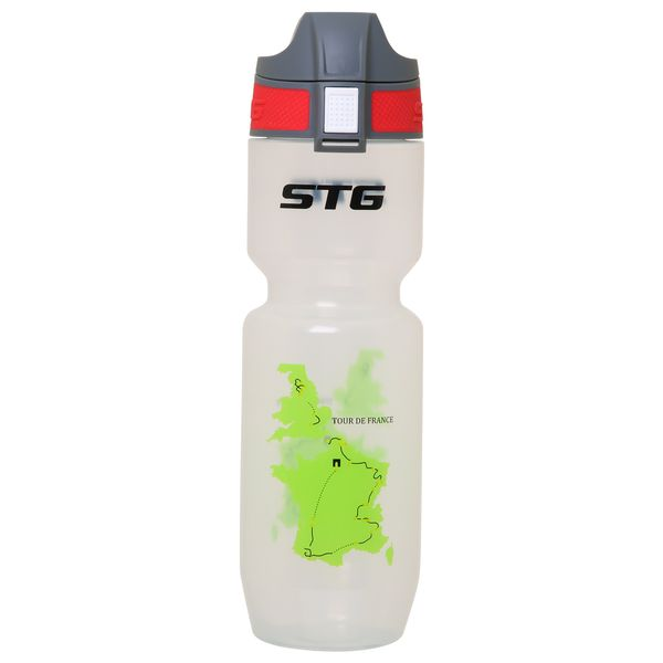 Фляга велосипедная STG Tour de France. ED-BT21, цвет: белый прозрачный, 750 мл. Х61861 vichy пена для бритья для чувствительной кожи vichy homme склонной к покраснению 200 мл