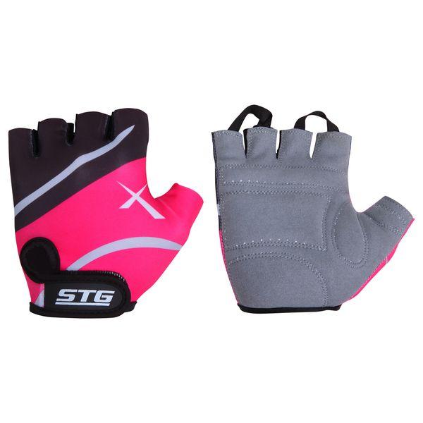 Перчатки велосипедные STG, летние, быстросъемные, цвет: розовый, черный, серый. Размер S. Х61872