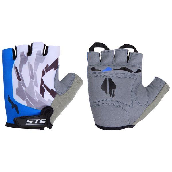 Перчатки велосипедные STG, летние, быстросъемные, цвет: синий, серый, черный. Размер L. Х61877Х61877-ЛБыстросъемные летние перчатки STG выполнены из высококачественной кожи и лайкры на липучке и с защитной прокладкой. Такие перчатки обеспечат надежный хват за руль велосипеда и обезопасят руки от ссадин при внезапном падении. Для подбора перчаток необходимо измерить ширину ладони. Измерить ее можно линейкой или сантиметром по середине ладони от указательного пальца до мизинца. Соответствие ширины ладони перчаток: L (9,5 см).