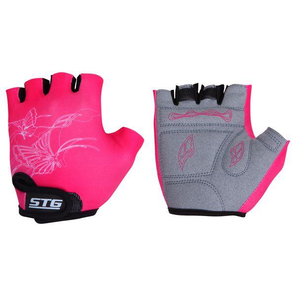 Перчатки велосипедные STG, детские, летние, быстросъемные, цвет: розовый, серый. Размер XS