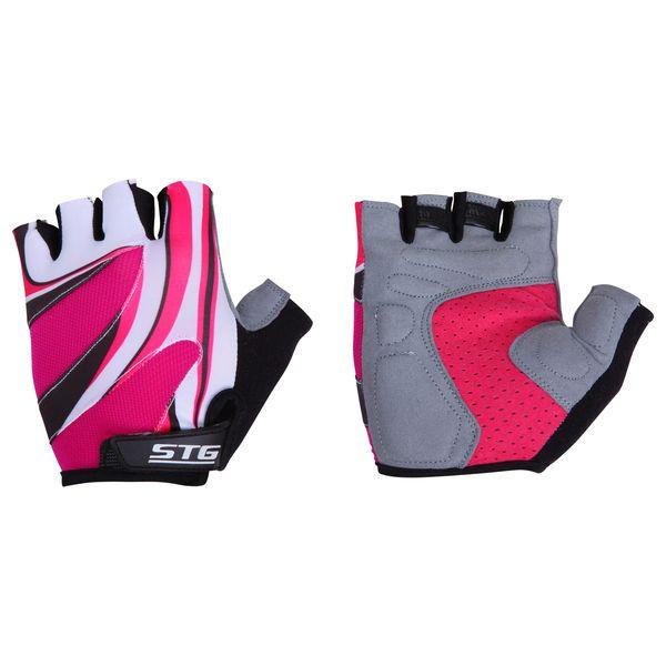 Перчатки велосипедные женские STG летние, с системой вентиляции, цвет: розовый, черный, белый. Размер L. Х61901