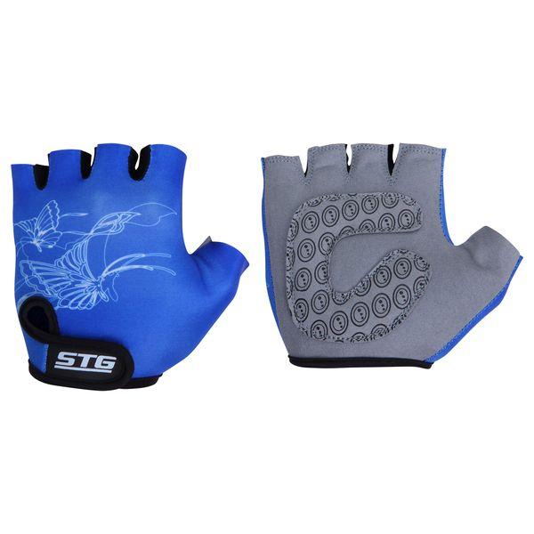 Перчатки велосипедные детские STG летние, цвет: синий. Размер XS. Х66454Х66454-ХСПерчатки летние детские с короткими пальцами выполнены из кожи и лайкры. Перчатки быстросъемные на липучке с защитной прокладкой. Велосипедные перчатки обеспечат надежный хват за руль велосипеда и обезопасят руки юного велосипедиста при внезапном падении. Поставляются в индивидуальной упаковке. Для подбора перчаток необходимо измерить ширину ладони. Измерить ее можно линейкой или сантиметром по середине ладони от указательного пальца до мизинца. Соответствие ширины ладони перчаток: XS-от 6 до 6,5 см