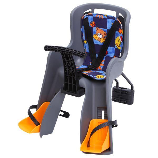 Кресло детское Sunnywheel GH-908, фронтальное, цвет: серый. Х69813Х69813Универсальное детское кресло Sunnywheel GH-908 может быть закреплено на велосипеде любого типа. Крепеж монтируется на раму перед седлом. Мягкая спинка и регулируемые по высоте подставки для ног позволяют прокатить ребенка возрастом до 1,5 лет. Трехточечные ремни безопасности надежно соединяются. Дополнительная фиксирующая дуга и мягкий матрас идут в комплекте.Гид по велоаксессуарам. Статья OZON Гид