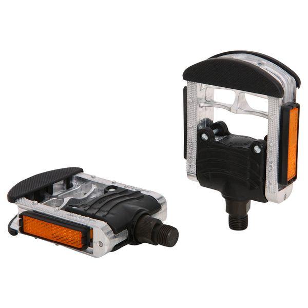 Педали Wellgo F147, складные. Х70260Х70260Складные педали Wellgo F147 изготовлены из долговечного прочного алюминия. Платформа из пластика улучшает сцепление с подошвой обуви и препятствует проскальзыванию ноги. Шариковые подшипники отличаются долгим сроком службы и не нуждаются в частом обслуживании.Педали оснащены встроенными светоотражателями для безопасности.