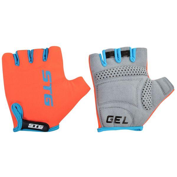 Перчатки велосипедные STG AL-03-325, летние, цвет: оранжевый, черный. Размер S. Х74365