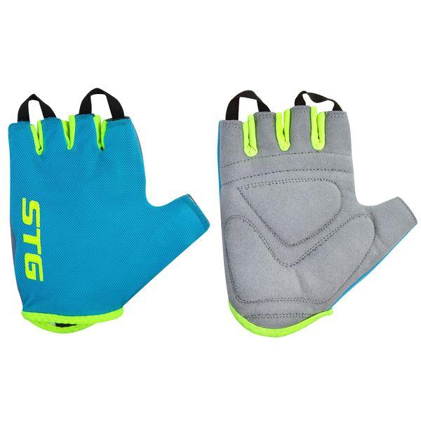 Перчатки велосипедные STG AL-03-418, летние, цвет: голубой, салатовый. Размер LХ74366-ЛЯркие летние перчатки с открытыми пальцами STG AL-03-418 сделают ваши поездки на велосипедеболее комфортными. Они препятствуют натиранию ладоней. Мягкая дышащая ткань обеспечивает хорошую вентиляцию. Специальные вставки на ладонях уменьшают давление при обхвате руля. Перчатки застегиваются на липучки.