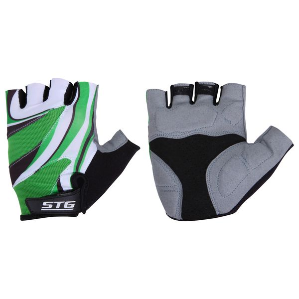 Перчатки велосипедные STG, летние, с дышащей системой вентиляции, цвет: зеленый, серый, черный. Размер М. Х61887