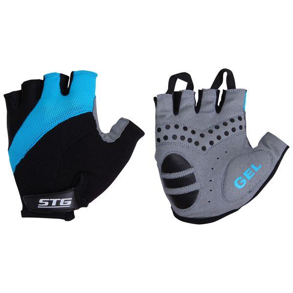 Перчатки велосипедные STG летние, быстросъемные, цвет: голубой, черный, серый. Размер M. Х61884