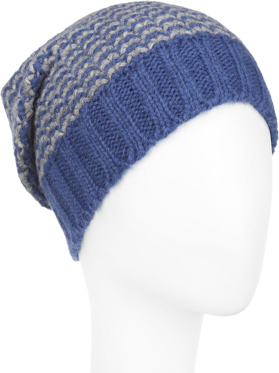 Шапка женская Venera, цвет: синий, серый. 9801041-11. Размер универсальный9801041-11Стильная женская шапка Venera, выполненная из двухцветной шерстяной пряжи, станет отличным дополнением вашего образа в холодную погоду. Модель очень мягкая и приятная на ощупь, не колется. Широкая резинка по низу изделия обеспечивает удобную посадку и идеальное облегание. Шапка Venera отлично дополнит повседневный образ и молодой девушки, и женщины любого возраста, это универсальный и очень практичный аксессуар.