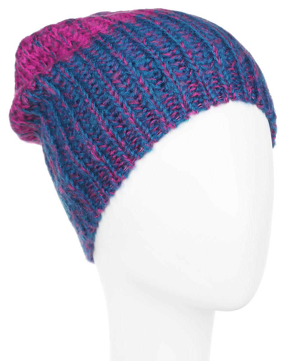 Шапка женская Venera, цвет: фуксия, синий. 9801341-3. Размер универсальный9801341-3Вязаная женская шапка Venera отлично дополнит ваш образ в холодную погоду. Шапка выполнена крупной вязкой из мягкой пряжи, которая не доставит дискомфорта при носке. Сочетание шерсти и акрила максимально сохраняет тепло и обеспечивает удобную посадку. Теплая шапка станет отличным дополнением к вашему осеннему или зимнему гардеробу, в ней вам будет уютно и тепло!