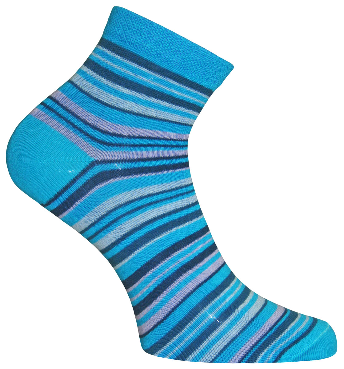 Носки женские Master Socks, цвет: бирюзовый, темно-синий. 55109. Размер 2555109Носки Master Socks изготовлены из индийского хлопка с добавлением полиамида и эластана, очень удобных и приятных при носке. Модель оформлена принтом в полоску. Эластичная резинка плотно облегает ногу, не сдавливая ее, обеспечивая комфорт и удобство.