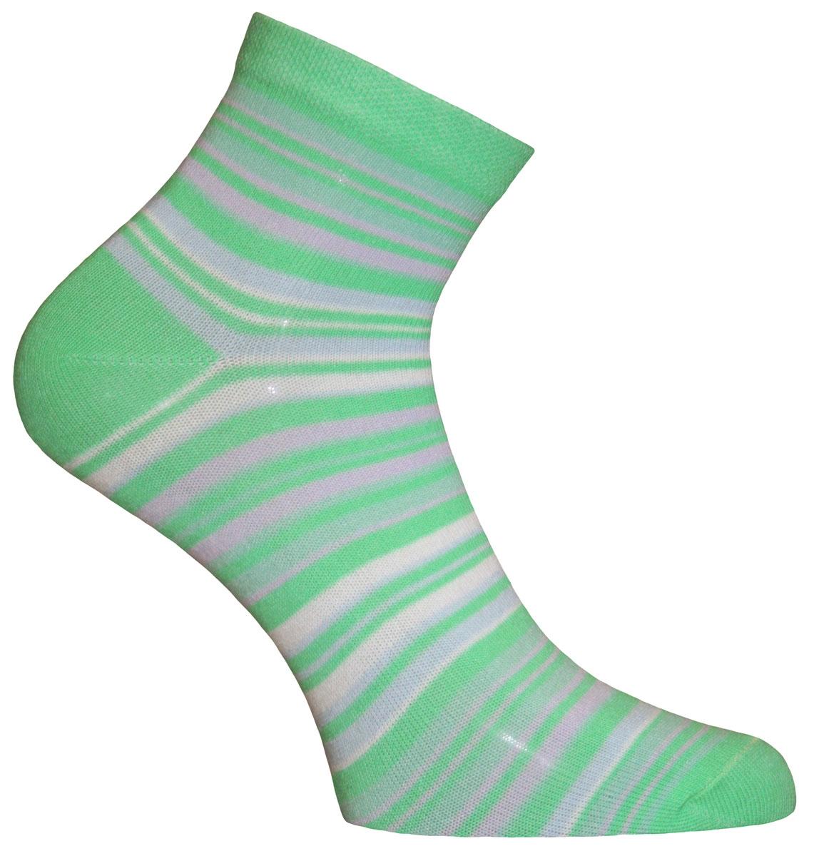 Носки женские Master Socks, цвет: салатовый, светло-серый. 55109. Размер 2355109Носки Master Socks изготовлены из индийского хлопка с добавлением полиамида и эластана, очень удобных и приятных при носке. Модель оформлена принтом в полоску. Эластичная резинка плотно облегает ногу, не сдавливая ее, обеспечивая комфорт и удобство.