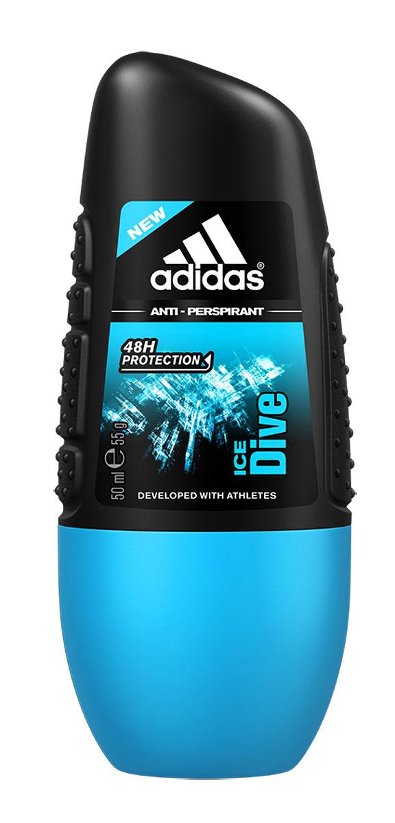 Adidas Дезодорант-антиперспирант ролик Ice Dive, мужской, 50 мл adidas дезодорант антиперспирант роликовый 6в1 cool&dry мужской 50 мл