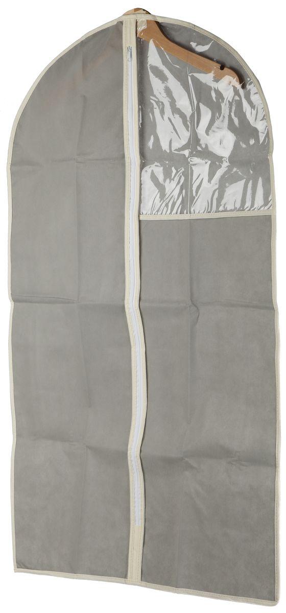 Чехол для одежды White Fox Standart, цвет: серый, 60 х 100 смWHHH10-338Чехол для одежды White Fox Standart изготовлен из полиэстера стилизованного под лен. Изделие упаковано в компактную упаковку, которая имеет подвес.