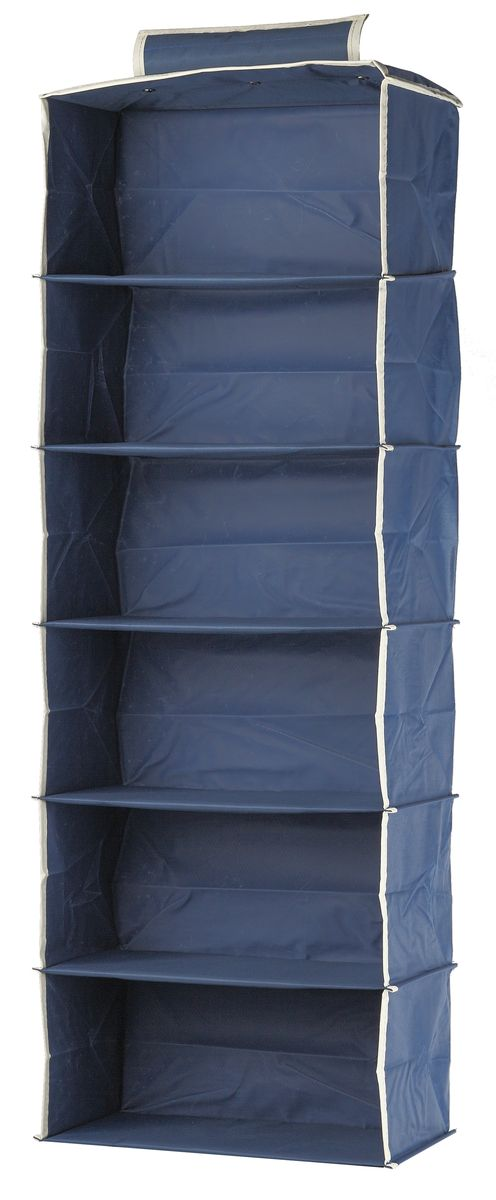 Кофр подвесной White Fox Comfort, 6 полок, цвет: голубой, 30 х 30 х 128 см органайзер подвесной white fox comfort blue 9 полок 15x30x128h см