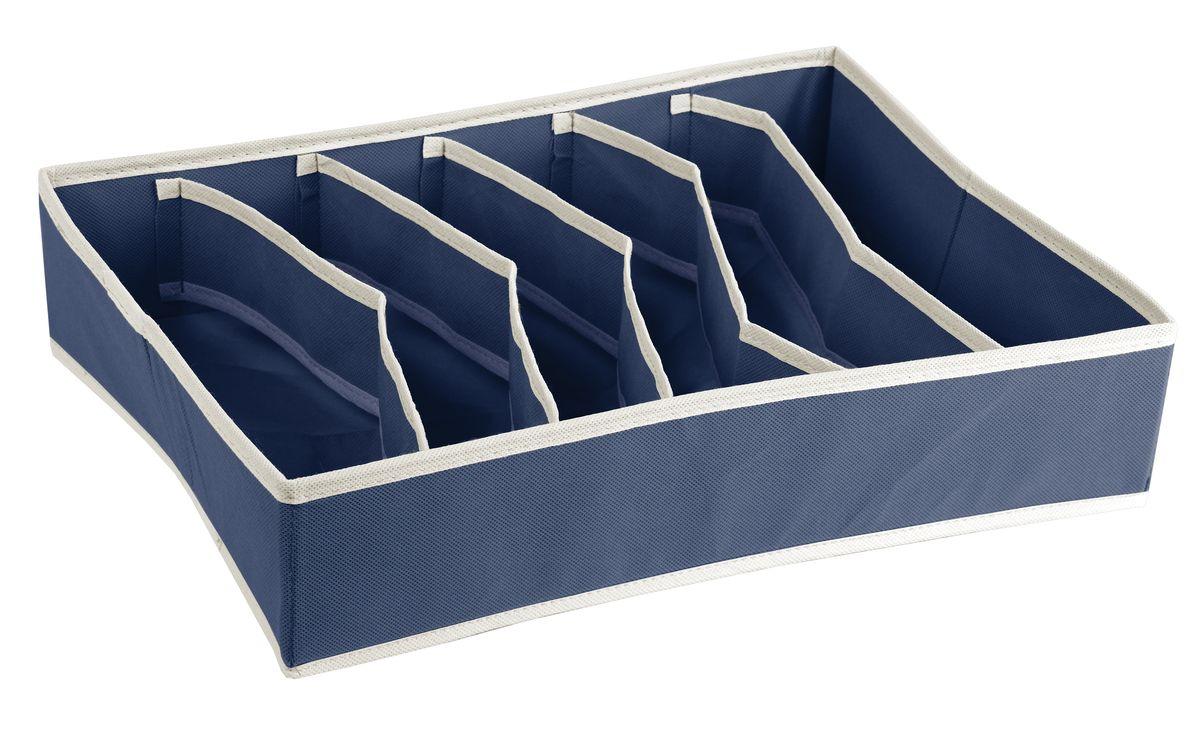 Короб для хранения White Fox Comfort, с делениями внутри, цвет: синий, 30 х 40 х 9 см органайзер подвесной white fox comfort blue 9 полок 15x30x128h см