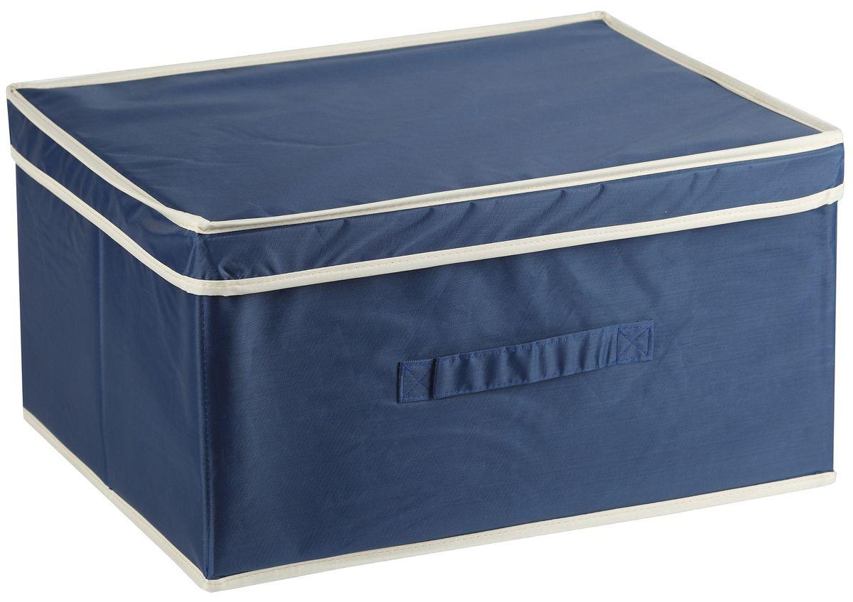 Короб для хранения White Fox Comfort, с крышкой, цвет: синий, 43 х 33 х 22 смWHHH10-359Короб для хранения White Fox Comfort изготовлен из полиэстера с пропиткой. Изделие можно протирать, в нем не накапливается пыль, и вещи остаются чистыми. Спереди расположена ручка. Короб имеет складную конструкцию.