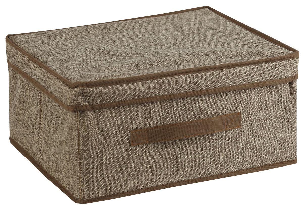 Короб для хранения White Fox Linen, с крышкой, цвет: бежевый, 46 х 33 х 25 смWHHH10-374Короб для хранения White Fox Linen изготовлен из полиэстера стилизованного под лен. Для удобства в обращении имеется ручка. Короб имеет складную конструкцию.