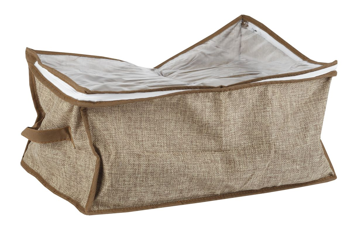 Чехол для вещей White Fox Linen, цвет: бежевый, 20 х 30 х 40 смWHHH10-380Чехол для вещей White Fox Linen изготовлен из полиэстера стилизованного под лен. Изделия упаковано в компактную упаковку, которая имеет подвес.