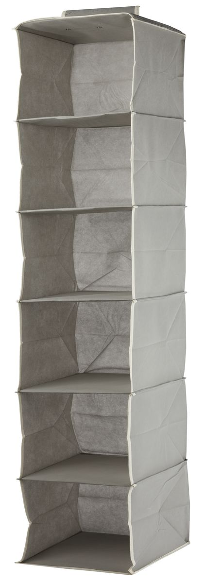 Кофр подвесной White Fox Standart, 6 полок, цвет: серый, 30 х 30 х 128 смWHHH10-336Подвесной кофр White Fox Standart, изготовленный из нетканого полотна, оснащен 6 полками. Он позволяет сохранять естественную вентиляцию и создает дополнительное пространство для хранения головных уборов, белья и мелких вещей. Благодаря удобной конструкции складывается и раскладывается одним движением. Для удобства в обращении имеется ручка. В сложенном виде изделие занимает минимум места, его легко хранить и перевозить. В таком кофре можно хранить всевозможные предметы: вещи, игрушки, рукоделие и многое другое.