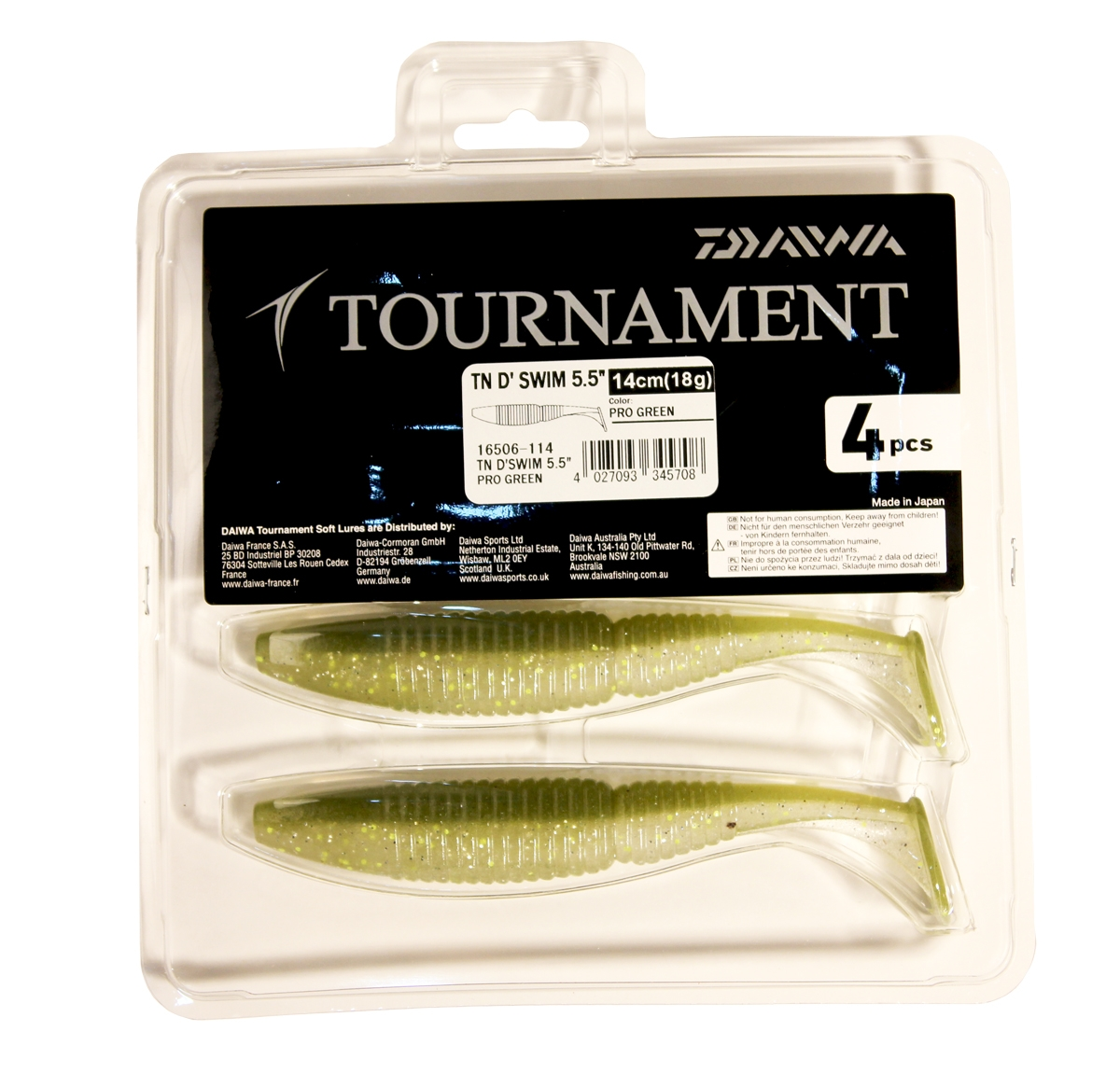 Виброхвост Daiwa TN D Swim, цвет: Pro Green, 14 см, 4 шт