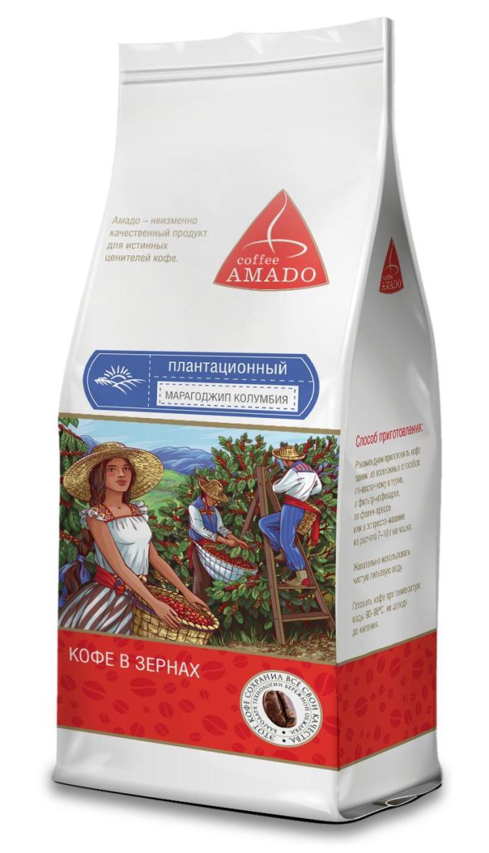 AMADO Марагоджип Колумбия кофе в зернах, 200 г блюз марагоджип мексика кофе в зернах 1 кг