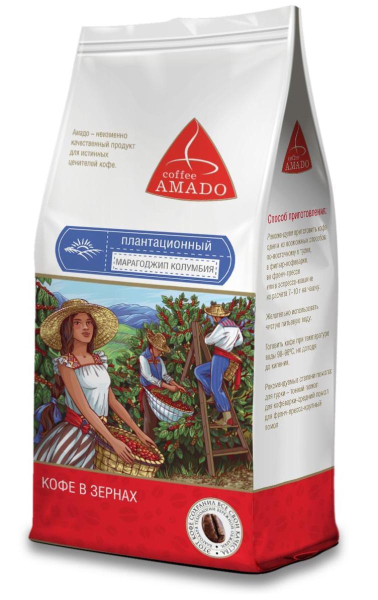 AMADO Марагоджип Колумбия кофе в зернах, 500 г4607064135059Кофе AMADO Марагоджип Колумбия имеет очень яркий аромат, с нотками ореха и какао. Насыщенный вкус с легкой приятной горчинкой и слабой кислотностью сочетается в нем с оттенками горького шоколада, ванили, и корицы. Рекомендуемый способ приготовления: по-восточному, френч-пресс, гейзерная кофеварка, фильтр-кофеварка, кемекс, аэропресс.