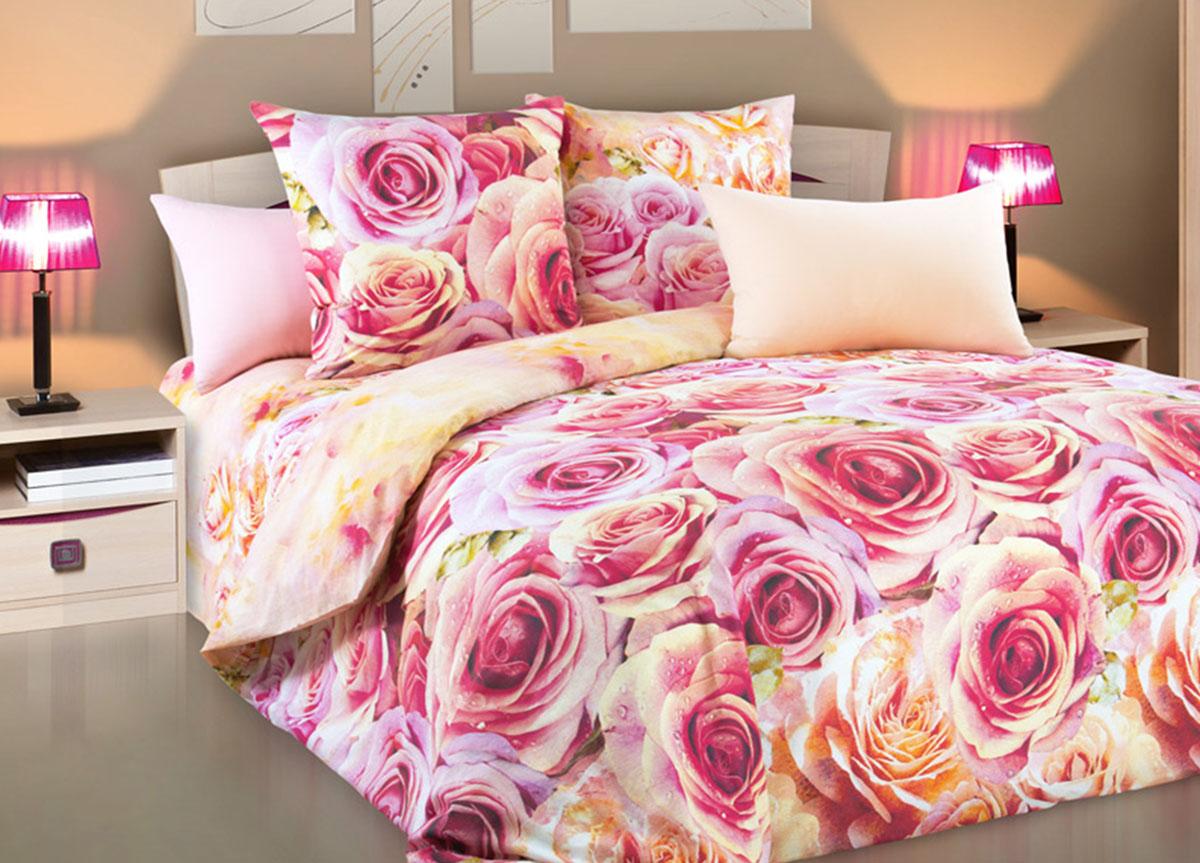 Комплект белья Primavera Романс, 1,5-спальный, наволочки 70x70, цвет: розовый83288Наволочки с декоративным кантом особенно подойдут, если вы предпочитаете класть подушки поверх покрывала. Кайма шириной 5-10см с трех или четырех сторон делает подушки визуально более объемными, смотрятся они очень аккуратно, даже парадно. Еще такие наволочки называют оксфордскими или наволочками «с ушками».Сатин – прочная и плотная ткань с диагональным переплетением нитей. Хлопковый сатин по мягкости и гладкости уступает атласу, зато не будет соскальзывать с кровати. Сатиновое постельное белье легко переносит стирку в горячей воде, не выцветает. Прослужит комплект из обычного сатина меньше, чем из сатина повышенной плотности, но дольше белья из любой другой хлопковой ткани. Сатин приятен на ощупь, под ним комфортно спать летом и зимой.Производство «Примавера» находится в Китае, что позволяет сократить расходы на доставку хлопка. Поэтому цены на это постельное белье более чем скромные и это не сказывается на качестве. Сатин очень гладкий, мягкий, но при этом, невероятно прочный. Он прослужит вам действительно долго и не полиняет. Для нанесения рисунков используют только безопасные для окружающей среды и здоровья человека красители.