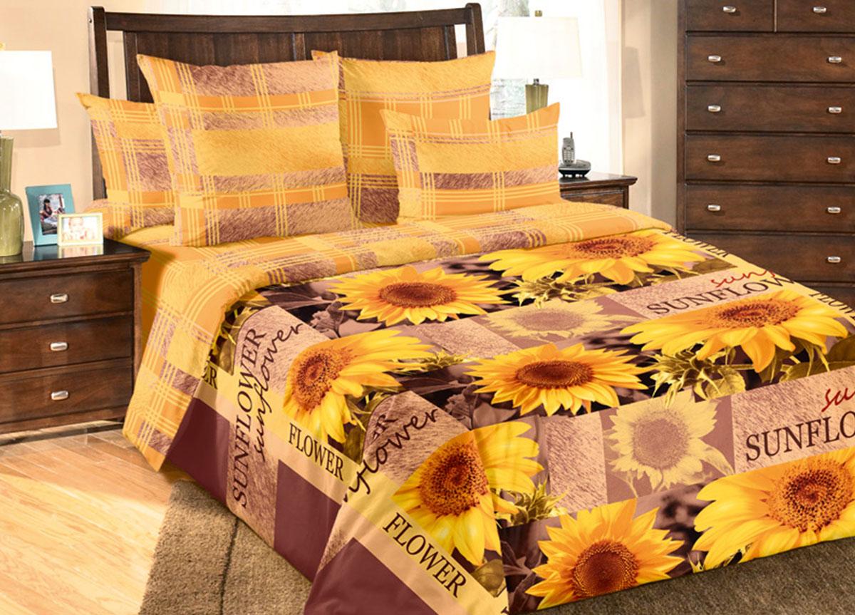 Комплект белья Primavera Солнечный цветок, 2-спальный, наволочки 70x70, цвет: желтый83300Наволочки с декоративным кантом особенно подойдут, если вы предпочитаете класть подушки поверх покрывала. Кайма шириной 5-10см с трех или четырех сторон делает подушки визуально более объемными, смотрятся они очень аккуратно, даже парадно. Еще такие наволочки называют оксфордскими или наволочками «с ушками».Сатин – прочная и плотная ткань с диагональным переплетением нитей. Хлопковый сатин по мягкости и гладкости уступает атласу, зато не будет соскальзывать с кровати. Сатиновое постельное белье легко переносит стирку в горячей воде, не выцветает. Прослужит комплект из обычного сатина меньше, чем из сатина повышенной плотности, но дольше белья из любой другой хлопковой ткани. Сатин приятен на ощупь, под ним комфортно спать летом и зимой.Производство «Примавера» находится в Китае, что позволяет сократить расходы на доставку хлопка. Поэтому цены на это постельное белье более чем скромные и это не сказывается на качестве. Сатин очень гладкий, мягкий, но при этом, невероятно прочный. Он прослужит вам действительно долго и не полиняет. Для нанесения рисунков используют только безопасные для окружающей среды и здоровья человека красители.