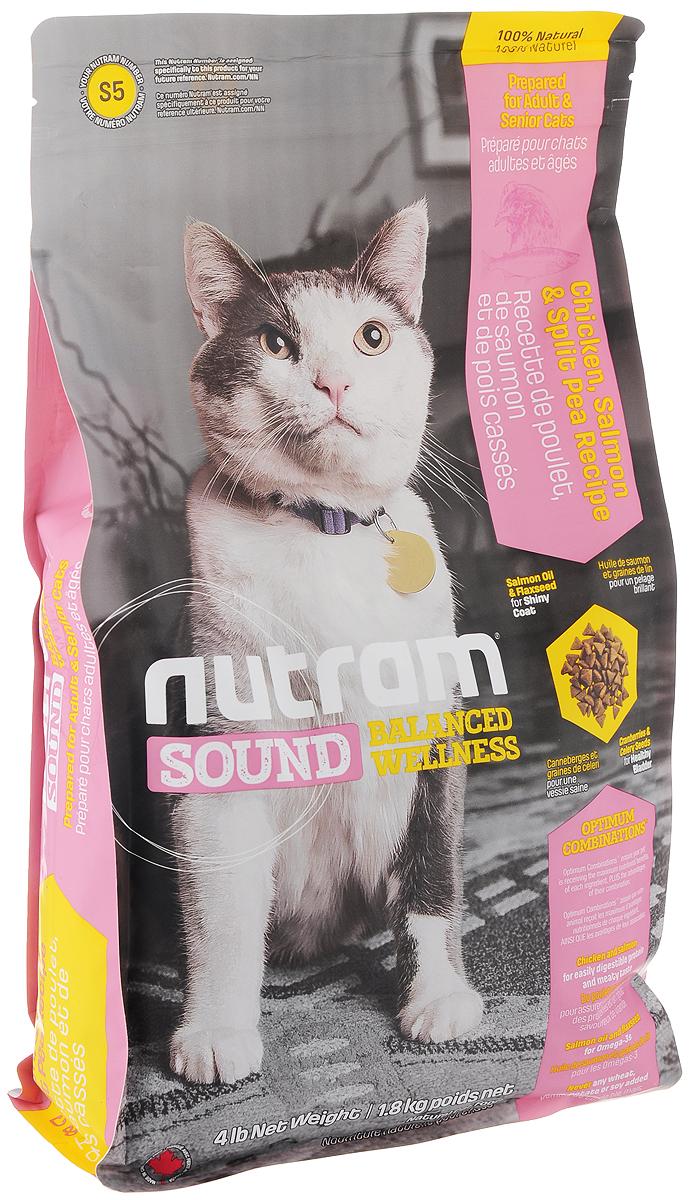 Корм сухой Nutram Sound Balanced Wellness S5 для взрослых и пожилых кошек, с курицей, лососем и горохом, 1,8 кг83086Полноценный, полезный, богатый питательными веществами сухой корм Nutram Sound Balanced Wellness S5 для взрослых и пожилых кошек, который улучшает самочувствие и здоровье питомцев по принципу изнутри-наружу.Подход Nutram к питанию начинается со здорового мочевого пузыря. Для этого используется сочетание клюквы и семян сельдерея. Клюква, естественный подкислитель, и семена сельдерея, эффективное мочегонное, регулируют баланс жидкости в организме. Поддерживаются уровень рН и уровень золы в моче, что способствует здоровью мочеполовой системы.Сочетание жира лососевых рыб и семян льна, богатых омега-3 жирными кислотами, позволяет системе Оптимальных сочетаний обеспечить все необходимые питательные вещества для поддержки здоровья кожи и шерсти. - Корм для кошек содержит мясо курицы и лосося - источники легкоусвояемых белков и привлекательного вкуса. - Волокна гороха способствуют хорошему пищеварению. - Жир лососевых рыб и семена льна используются в качестве источника полиненасыщенных и Омега-3 жирных кислот. - Не содержит пшеницу, кукурузу, картофель или сою в любом виде.