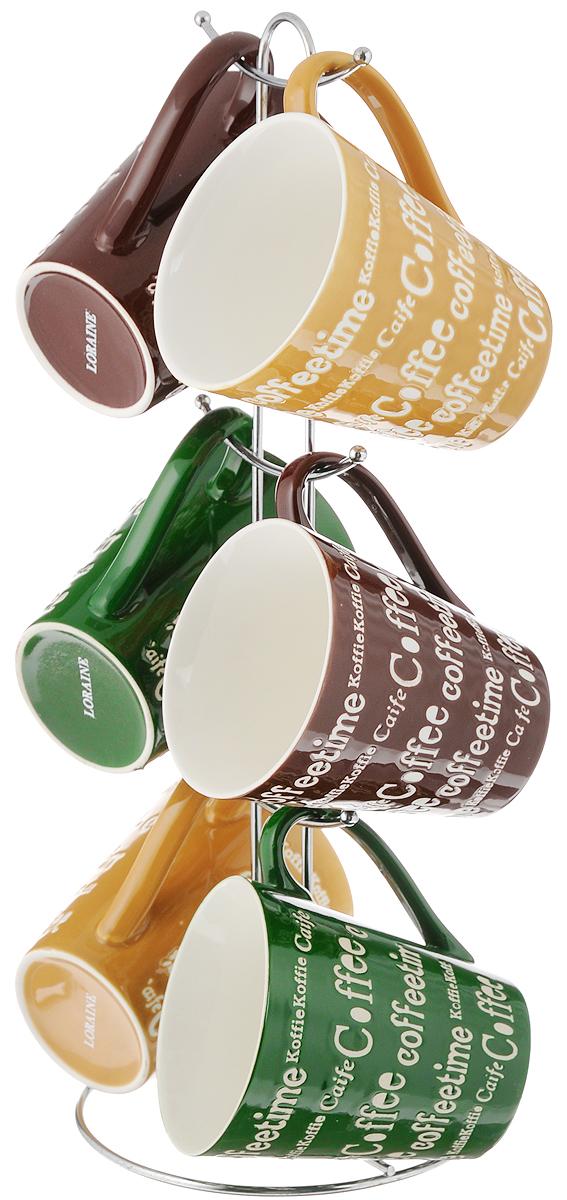 """Набор """"Loraine"""" состоит из шести кружек, изготовленных из  керамики. Изящный дизайн придется по вкусу и ценителям  классики, и тем, кто предпочитает утонченность и  изысканность. Он настроит на позитивный лад и подарит  хорошее настроение с самого утра. В комплекте -  металлическая подставка с шестью крючками для  подвешивания кружек.  Набор """"Loraine"""" идеальный и необходимый подарок для  вашего дома и для ваших друзей в праздники, юбилеи и  торжества. Подходит для использования в микроволновой печи и  холодильнике, также можно мыть в посудомоечной машине.  Объем кружек: 340 мл. Диаметр кружки по верхнему краю: 9 см.  Высота стенки кружки: 10 см.  Размер подставки: 14 х 14 х 37 см."""