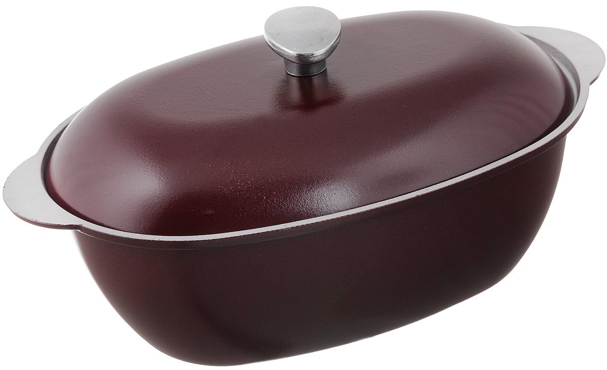 Гусятница Биол с крышкой, цвет: бордовый, 6 лГ0600ДГусятница Биол, выполненная из высококачественного литого алюминия, оснащена крышкой. Благодаря особой конструкции корпуса в гусятнице замечательно готовить томленые блюда. Она равномерно прогревается и долго удерживает тепло. Приготовленное блюдо получается особенно вкусным, а в продуктах сохраняется больше полезных веществ. Гусятница не подвержена деформации, легко моется.Подходит для газовых, электрических и стеклокерамических плит. Не подходит для индукционных плит. Размер гусятницы (без учета крышки): 40,7 х 24,2 х 13,2 см.Объем: 6 л.