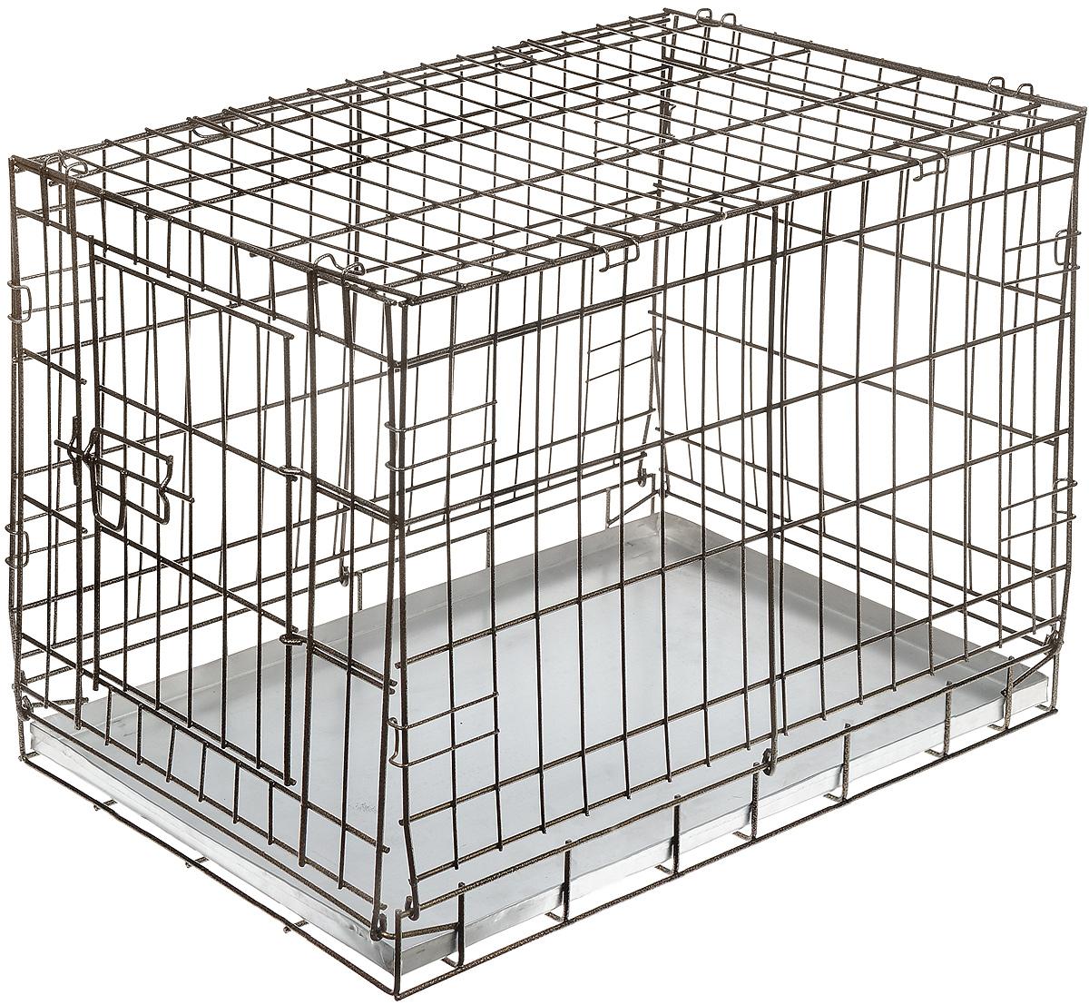 Клетка для собак ЗооМарк, выставочная, 80 х 50 х 55 см, цвет шагрень1005Удобная клетка ЗооМарк предназначена для собак средних пород. Идеально подходит для транспортировки и содержания собак во время проведения выставки. Клетка выполнена из металлической проволоки. Клетка оснащена дверцей, которая надежно закрываются. Прочный алюминиевый поддон не повреждает поверхность, на которой размещен.