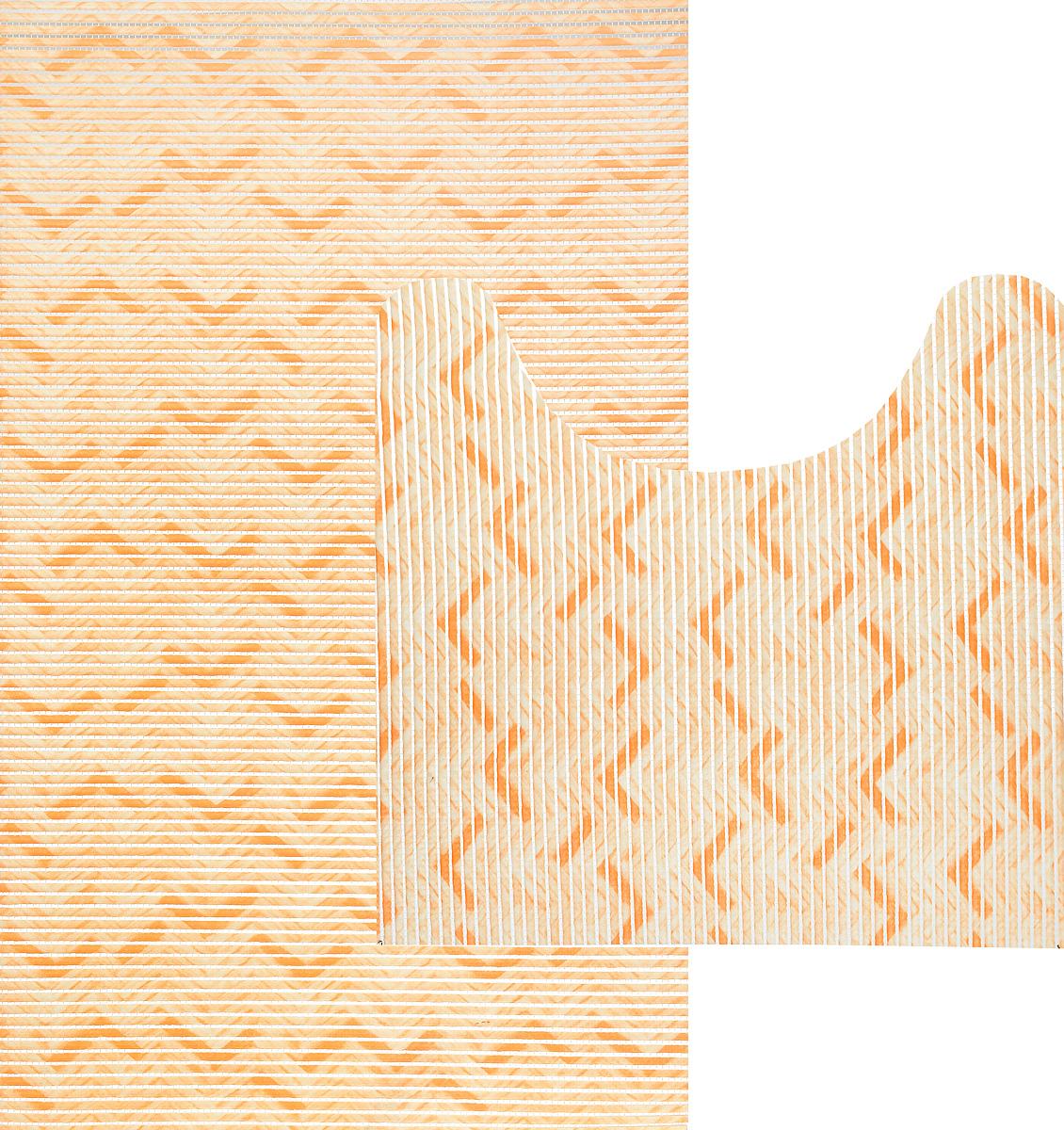 Комплект ковриков для ванной Fresh Code Зигзаг, цвет: светло-оранжевый, 2 предмета. 61261216_ оранжевый, зигзагКомплект Fresh Code Зигзаг состоит из коврика для ванной комнаты и туалета. Коврики выполнены из мягкого ПВХ с шероховатой антискользящей поверхностью, которая создает комфортное покрытие в ванной комнате. Поверхность ковриков перфорирована. Изделия оформлены оригинальным рисунком. Рекомендации по уходу: протрите коврик влажной губкой с моющим средством, тщательно ополосните чистой водой и просушите.Набор для ванной Fresh Code Зигзаг подарит ощущение тепла и комфорта, а также привнесет уют в вашу ванную комнату.Размер коврика для ванной комнаты: 48 х 80 см.Размер коврика для туалета: 48 х 48 см.