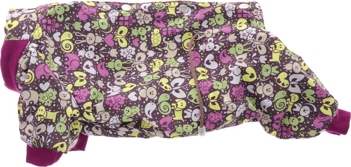 Комбинезон для собак Yoriki Звери, для мальчика, цвет: малиновый, розовый. Размер M168-12Комбинезон для собак Yoriki Звери отлично подойдет для прогулок в прохладную погоду осенью или весной. Верх комбинезона выполнен из водоотталкивающего полиэстера. Подкладка изготовлена из мягкой вискозы. Низ рукавов и брючин оснащен широкими стильными манжетами. Застегивается комбинезон на спинке на кнопки и дополнительно на пояснице затягивается шнурком. Благодаря такому комбинезону вашему питомцу будет комфортно наслаждаться прогулкой.