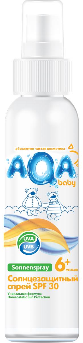 AQA baby Солнцезащитный спрей SPF 30, 150 мл02012401Спрей надежно защищает нежную кожу даже самых маленьких детей от воздействия солнечных лучей. Инновационная формула (Homeostatic Sun Protection) обеспечивает:- улучшенный биосинтез витамина D;- двойную защиту от UVA- лучей;- профилактику старения кожи.Спрей легко наносится и быстро впитывается, не оставляя ощущения липкости. Содержит пантенол, который увлажняет кожу и препятствует сухости и шелушению.