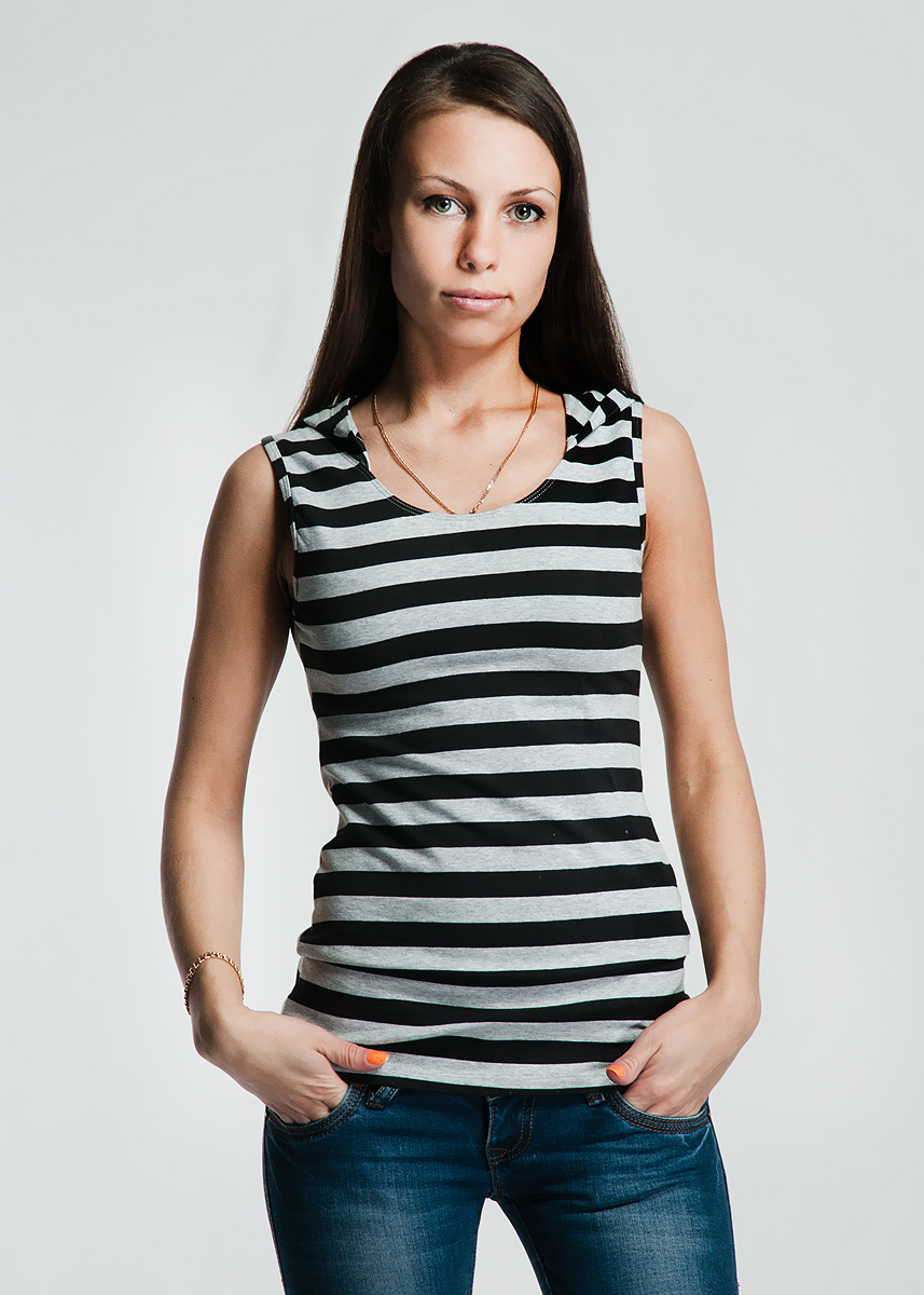 Майка женская Lowry, цвет: черный, серый. LM-204. Размер XL (48/50) бриджи антицеллюлитные женские lanaform mass & slim tourmaline цвет серый la0129044e размер xl 48 50