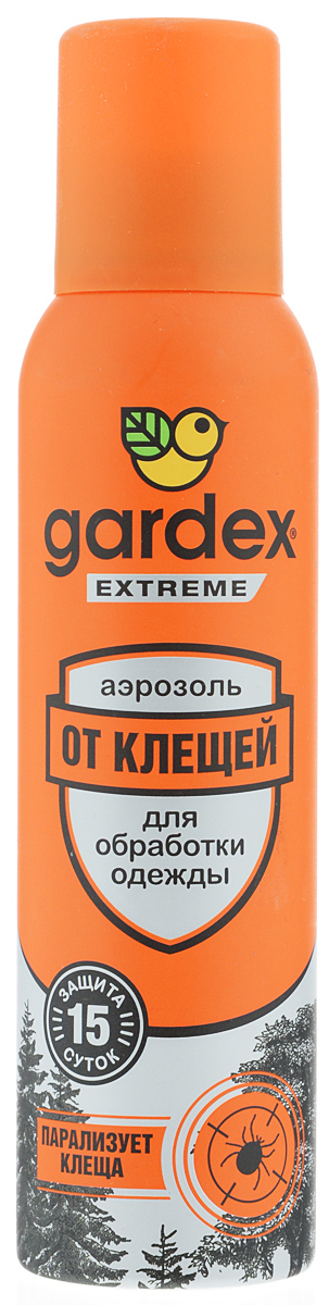 Аэрозоль от клещей Gardex Extreme, 150 мл0131Аэрозоль от клещей Gardex Extreme является эффективным средством, парализующим клещей после соприкосновения с одеждой. Также обеспечивает защиту от блох. Действие активного вещества сохраняется до 15 дней.Аэрозоль наносится на одежду и снаряжение. Перед нанесением средства одежду нужно снять, тщательно обработать, слегка просушить и затем надевать. Не забывайте наносить средство повторно по истечении указанного на упаковке времени - укусы опасны переносимыми клещами заболеваниями.Состав: альфациперметрин 0,2%, перметрин 0,15%, спирт этиловый, бутан, изобутан, пропан, функциональные добавки.Товар сертифицирован.