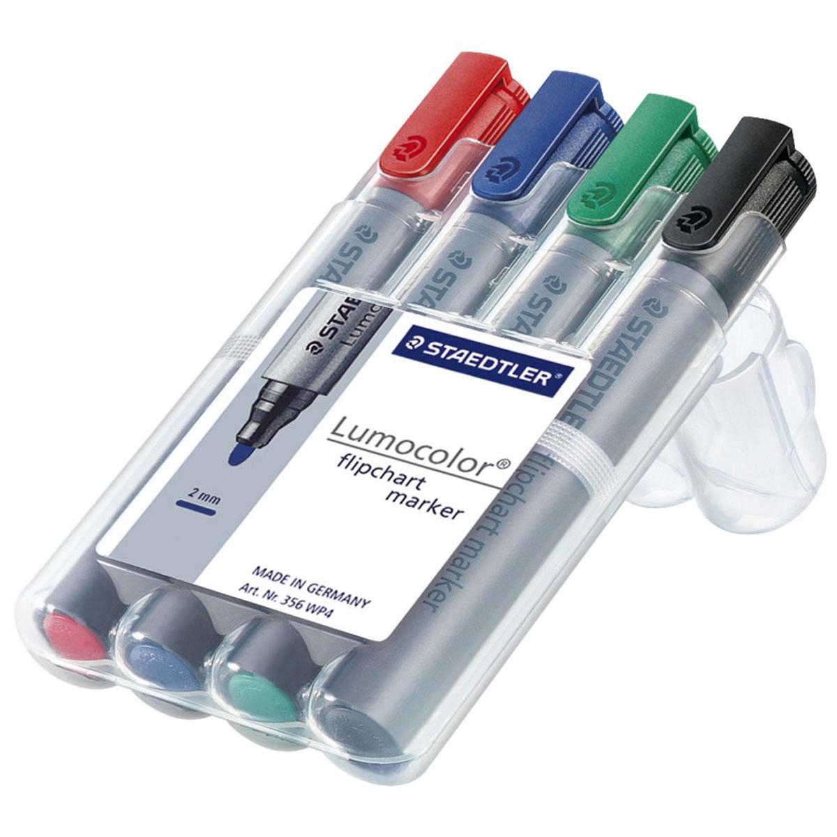 Staedtler Набор маркеров для флипчартов Lumocolor 4 цвета356Набор маркеров для флипчартов Staedtler Lumocolor применяется для письма на бумажных блоках для флипчартов и других листах бумаги, используются для проведения презентаций.Не растекаются на бумаге и не просачиваются на обратную сторону листа. Быстросохнущие чернила на водной основе не имеют запаха. Уникальная система позволяет оставлять маркер без колпачка на несколько дней без угрозы высыхания. Маркеры могут дозаправляться без контакта и вытекания чернил. Функция автоматического выравнивания давления, предотвращение от утечки чернил в полете.В наборе 4 маркера различных цветов - красного, синего, зеленого и черного.