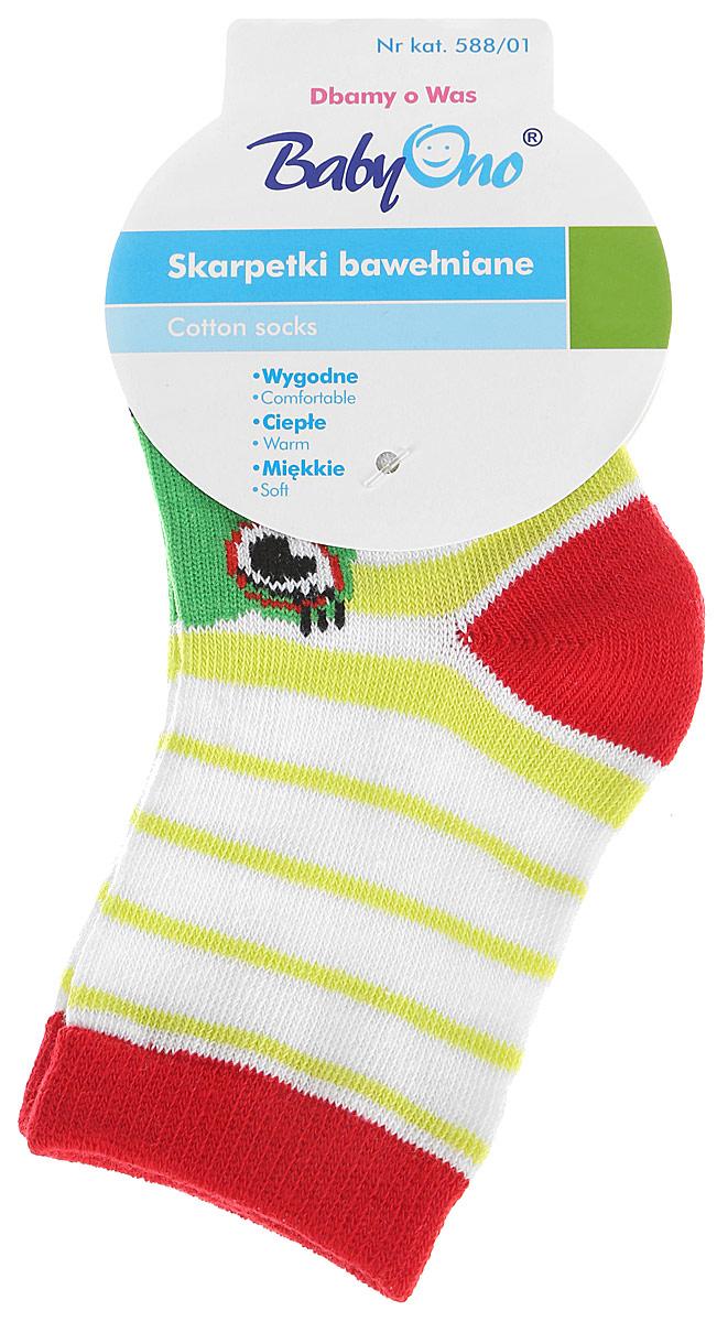 Носки детские BabyOno, цвет: белый, мультицвет. 588/01. Размер 6 мес колготки носки гетры babyono носки из хлопка антискользящие smile 0 1 пара