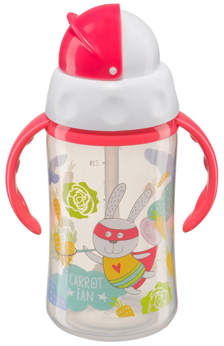 Happy Baby Бутылочка-поильник Carrot Fan с трубочкой от 12 месяцев 240 мл