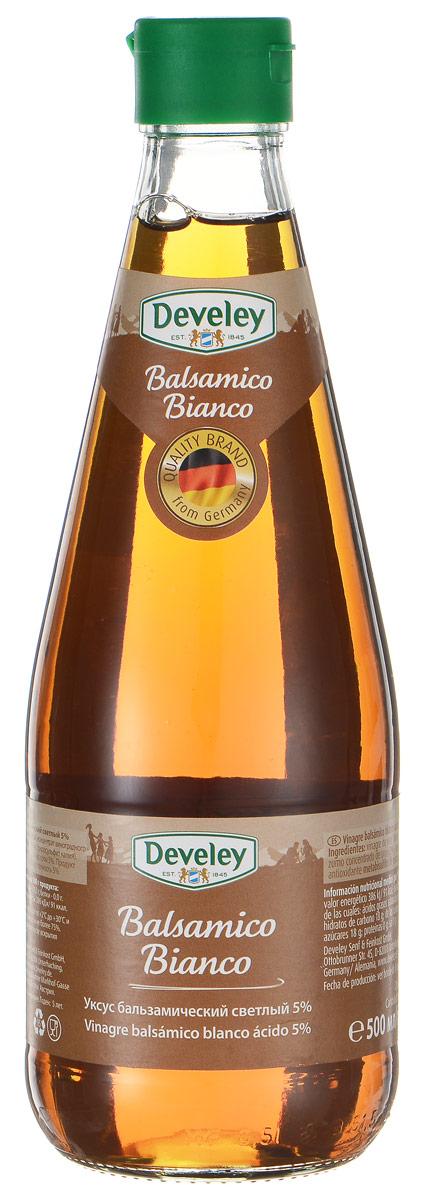 Develey Bianco уксус бальзамический светлый 5%, 500 мл7261Бальзамический уксус Develey Bianco произведен исключительно из натурального сырья по строго отработанной рецептуре. Традиционный способ производства придает ему богатый, тонкий, чуть сладковатый запах и вкус. Это изысканное дополнение к салатам, превосходная составляющая маринада для мяса, рыбы и овощей, идеально гармонирует с фруктовыми десертами, блюдами итальянской кухни и дичью.