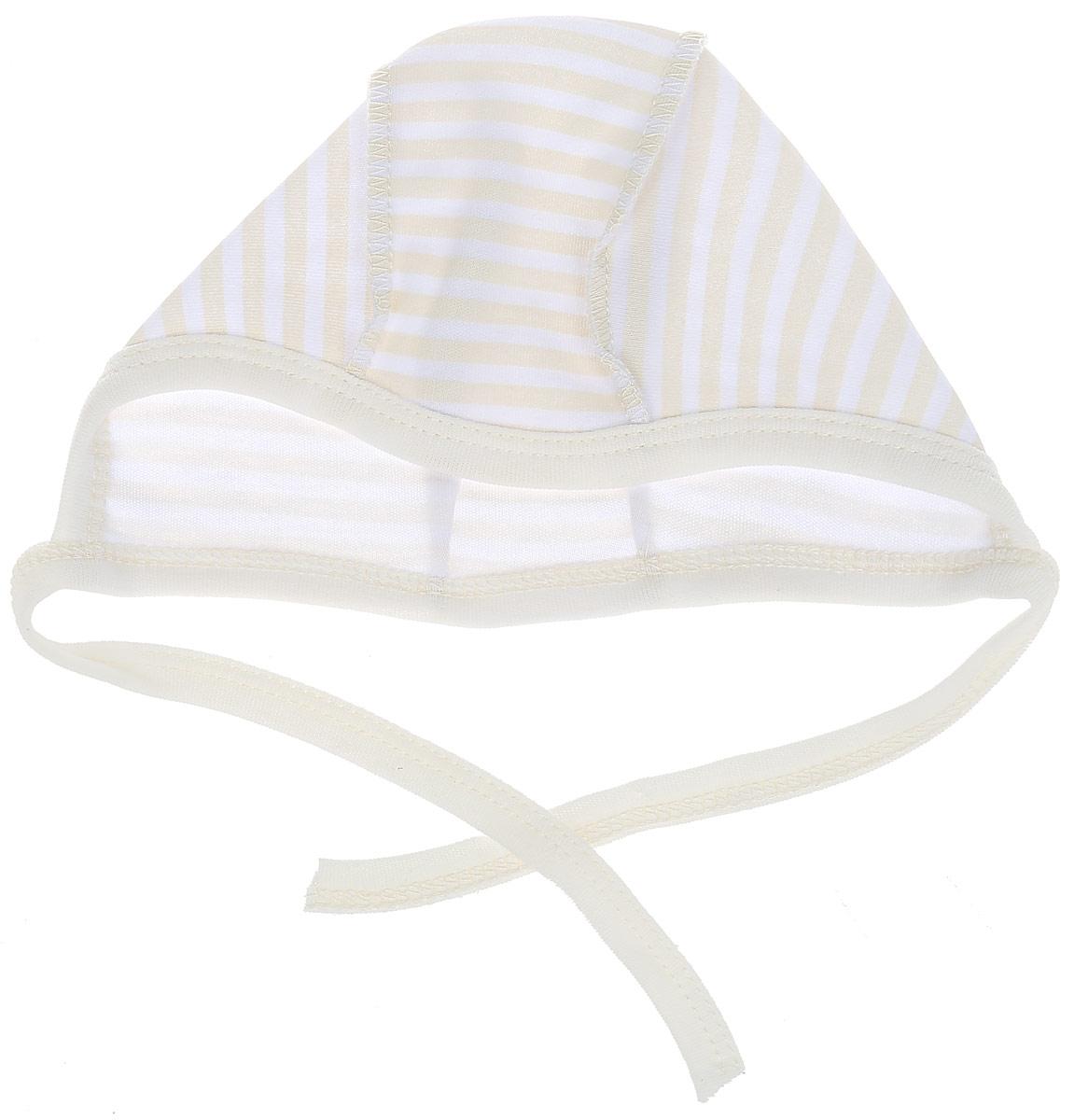 Чепчик детский КотМарКот, цвет: бежевый, желтый. 8267. Размер 48, 9-12 месяцев чепчик для девочки котмаркот цвет желтый 8262 размер 48 6 12 месяцев