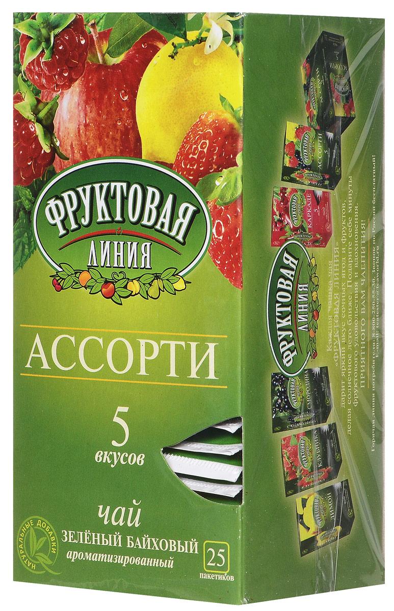 Фруктовая линия Ассорти зеленый чай в пакетиках, 25 шт еда и патроны полведра студёной крови