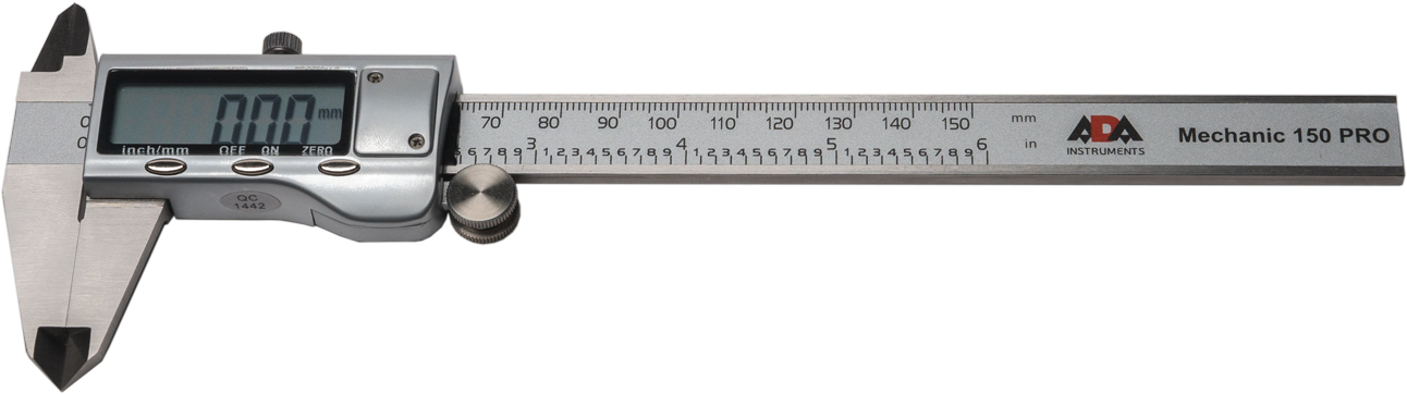 Штангенциркуль цифровой ADA Mechanic 150 PROА00380Цифровой штангенциркуль ADA Mechanic 150 Pro используется для проведения как наружных, так и внутренних измерений различных изделий или заготовок. Измерения производятся с высокой точностью ±0.03 мм. Результаты отображаются на ЖК дисплее с точностью до тысячных. Нажатием кнопки можно перевести миллиметры в дюймы. Результаты измерения отражаются на ЖК экране крупными цифрами.В любом положении подвижной рамки можно обнулить значение и начать измерения от этого положения. Например при определении разницы между диаметрами двух деталей.Включение штангенциркуля происходит автоматически при сдвиге рамки. Подвижная рамка имеет специальное колесико для точной установки и винтовой фиксатор.ADA Mechanic 150 Pro полностью изготовлен из нержавеющей стали.Цифровой штангенциркуль ADA Mechanic 150 Proточный и качественный ручной измерительный инструмент.Длина измерения: 0-150 ммРазрешение: 0.01ммТочность: ±0.03 ммПитание: 1х SR44