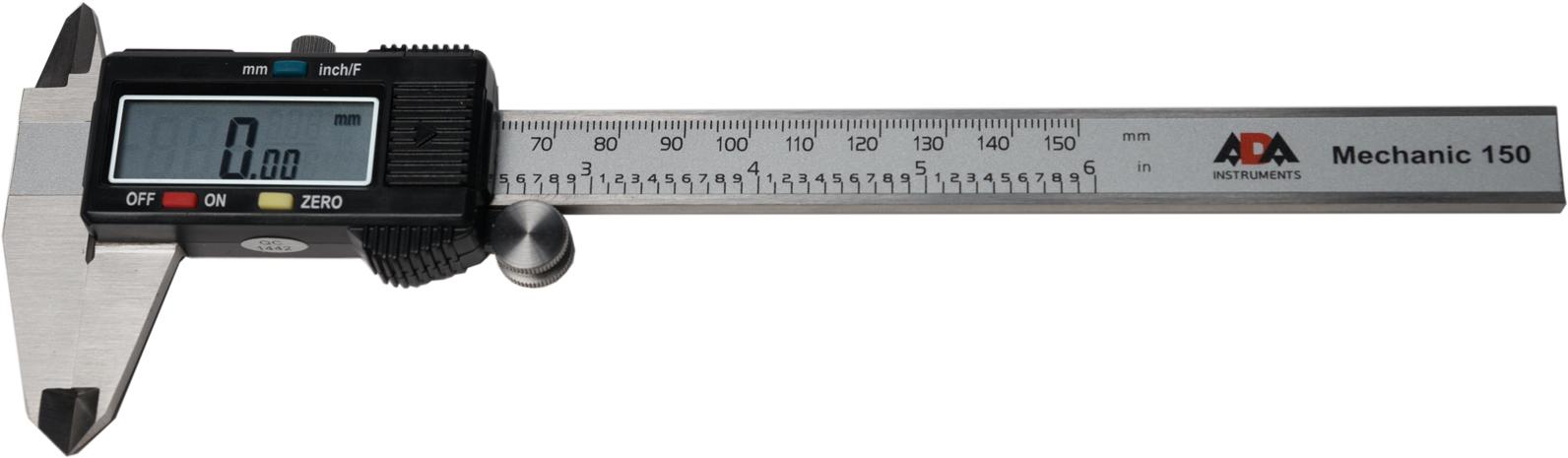 Штангенциркуль цифровой ADA Mechanic 150А00379Цифровой штангенциркуль ADA Mechanic 150 используется для проведения как наружных, так и внутренних измерений различных изделий или заготовок. Измерения производятся с высокой точностью ±0.03 мм. Результаты отображаются на ЖК дисплее с точностью до тысячных. Нажатием кнопки можно перевести миллиметры в дюймы. Результаты измерения отражаются на ЖК экране крупными цифрами.В любом положении подвижной рамки можно обнулить значение и начать измерения от этого положения. Например при определении разницы между диаметрами двух деталей.Включение штангенциркуля происходит автоматически при сдвиге рамки. Подвижная рамка имеет специальное колесико для точной установки и винтовой фиксатор.Корпус дисплея ADA Mechanic 150 изготовлен из пластика, остальная часть прибора — нержавеющая сталь.Цифровой штангенциркуль ADA Mechanic 150 точный и качественный ручной измерительный инструмент.Длина измерения: 0-150 ммРазрешение : 0.01ммТочность: ±0.03 ммПитание: 1х SR44