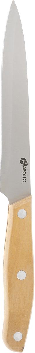 Нож универсальный Apollo Lotus, длина лезвия 13 смHY-501Универсальный нож Apollo Lotus предназначендля нарезки различных продуктов. Лезвие выполнено из высококачественной нержавеющей стали. Эргономичная рукоятка, выполненная из дерева, не скользит в руках и делает нарезку удобной и безопасной. Благодаря уникальной формуле стали и качеству ее обработки, лезвие имеет высокий показательтвердости, что позволяет ему долго сохранять острую заточку.Нож Apollo Lotus идеально шинкует, нарезает и измельчает продукты. Он займет достойное место среди аксессуаров на вашей кухне.Не рекомендуется мыть в посудомоечной машине.Длина ножа (общая): 23 см.Толщина лезвия: 1,2 мм.