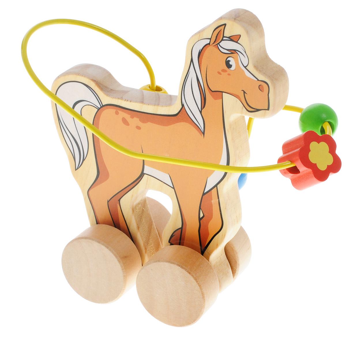 Мир деревянных игрушек Лабиринт-каталка Лошадь мир деревянных игрушек лабиринт каталка бабочка малая