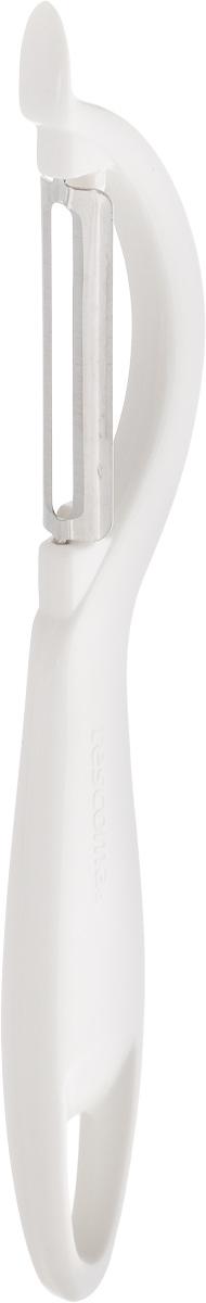 Овощечистка Tescoma Presto, с продольным лезвием, цвет: белый, длина 19 см420106Овощечистка с продольным лезвием Tescoma Presto изготовлена из прочного пластика, лезвие из высококачественной нержавеющей стали. Отлично подходит для быстрой и легкой очистки овощей. Также можно использовать для нарезки тонкими ломтиками моркови, сельдерея, редиса.Можно мыть в посудомоечной машине.Длина: 19 см.